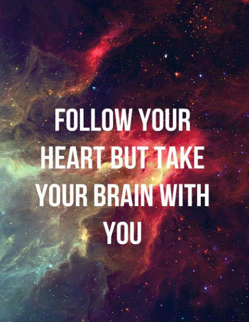 Follow Your Heart But Take Your Brain With You Picture Quotes