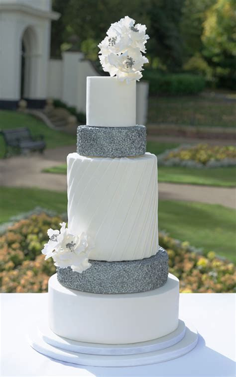 Silver wedding cake custom designed 5 tier modern sequin