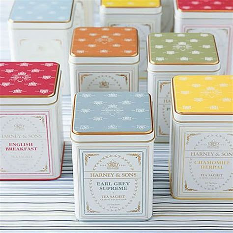 Gourmet tea tins, bridal tea tin favors, Harney & Sons tea