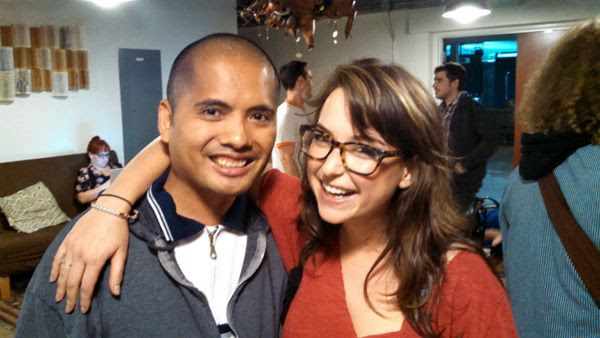 Posing with Milana Vayntrub at the Inner Sanctum Cafe on Sunset Boulevard in Hollywood...on April 20, 2015.