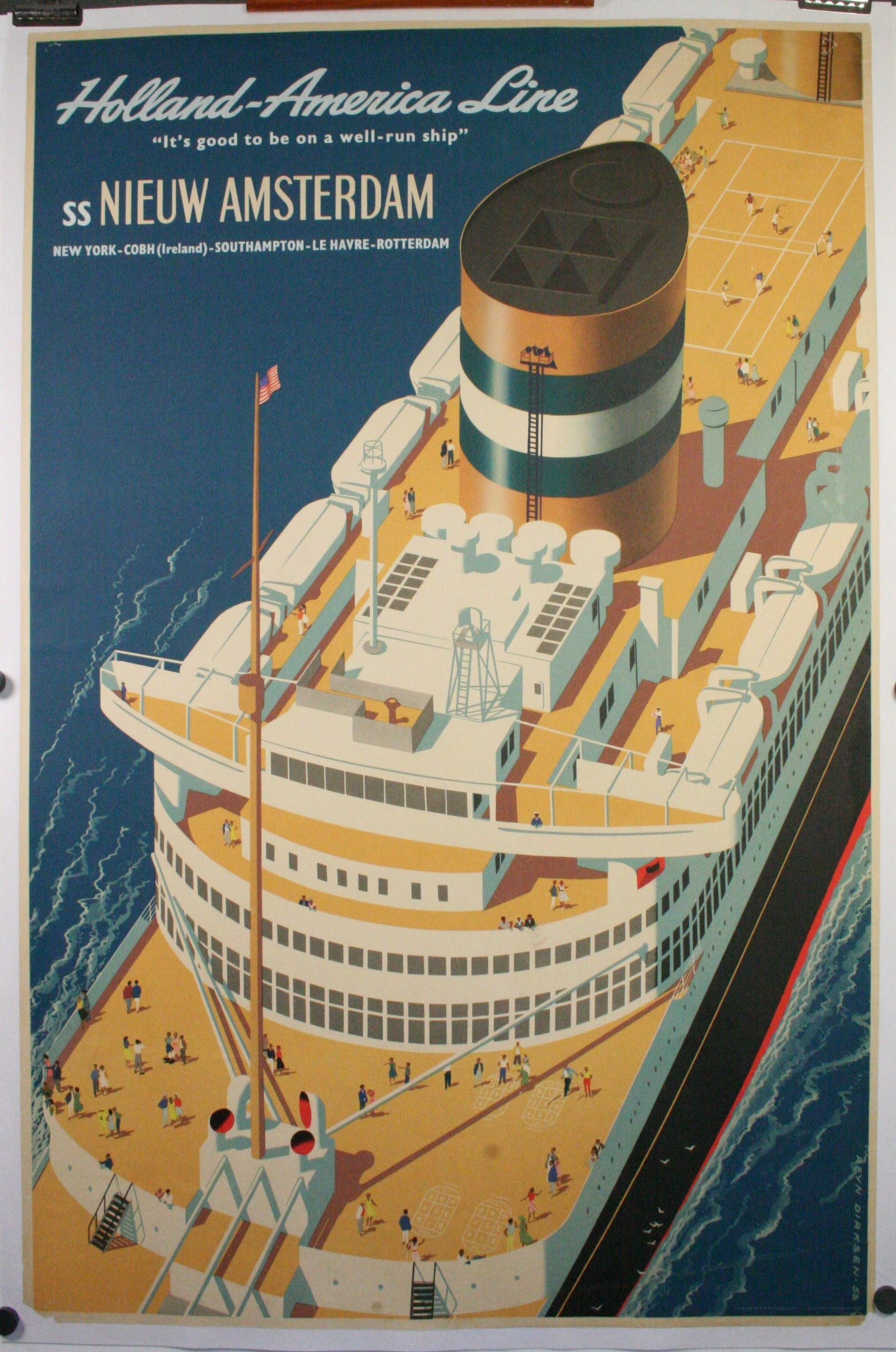 HOLLAND-AMERICA LINE, SS NIEW AMSTERDAM, Original Vintage ...