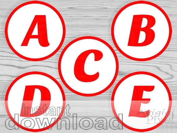 printable RED alphabet letters and numbers circles by ArigigiPixel
