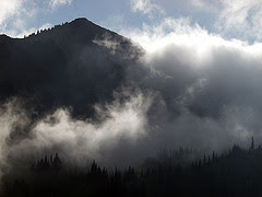 Dege Peak in Clouds