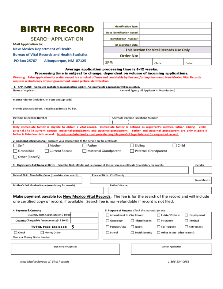 NEW FORMS FOR BIRTH CERTIFICATE APPLICATION