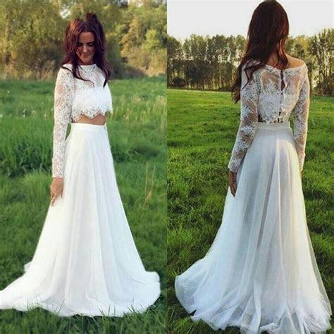 2017 Two Pieces Lace Wedding Dresses Plus Size Long