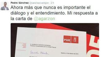 Sánchez ha fet pública la carta a Garzón a través de Twitter