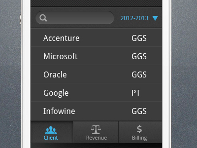 mobile Android phone clients contacts list view