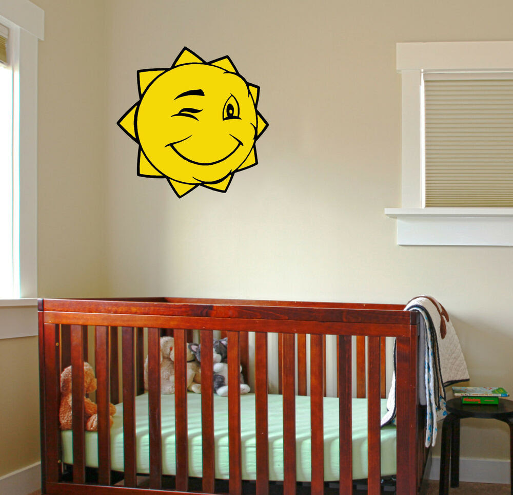 Winking Sun Wall Decal removable sticker children kids nursery baby room mural  eBay