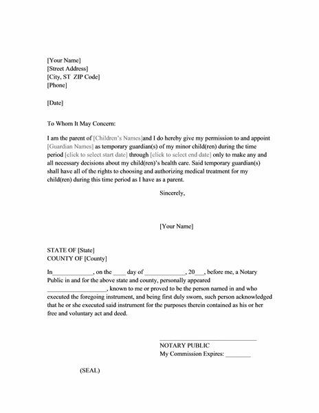 Power of Attorney Letter for Child Care | Printable ...