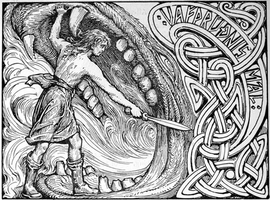 El dios Víðarr empuña su espada en las fauces del lobo Fenrir.