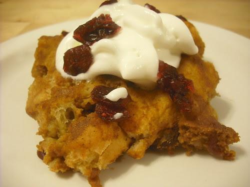 Pumpkin-Cranberry Bread Pudding