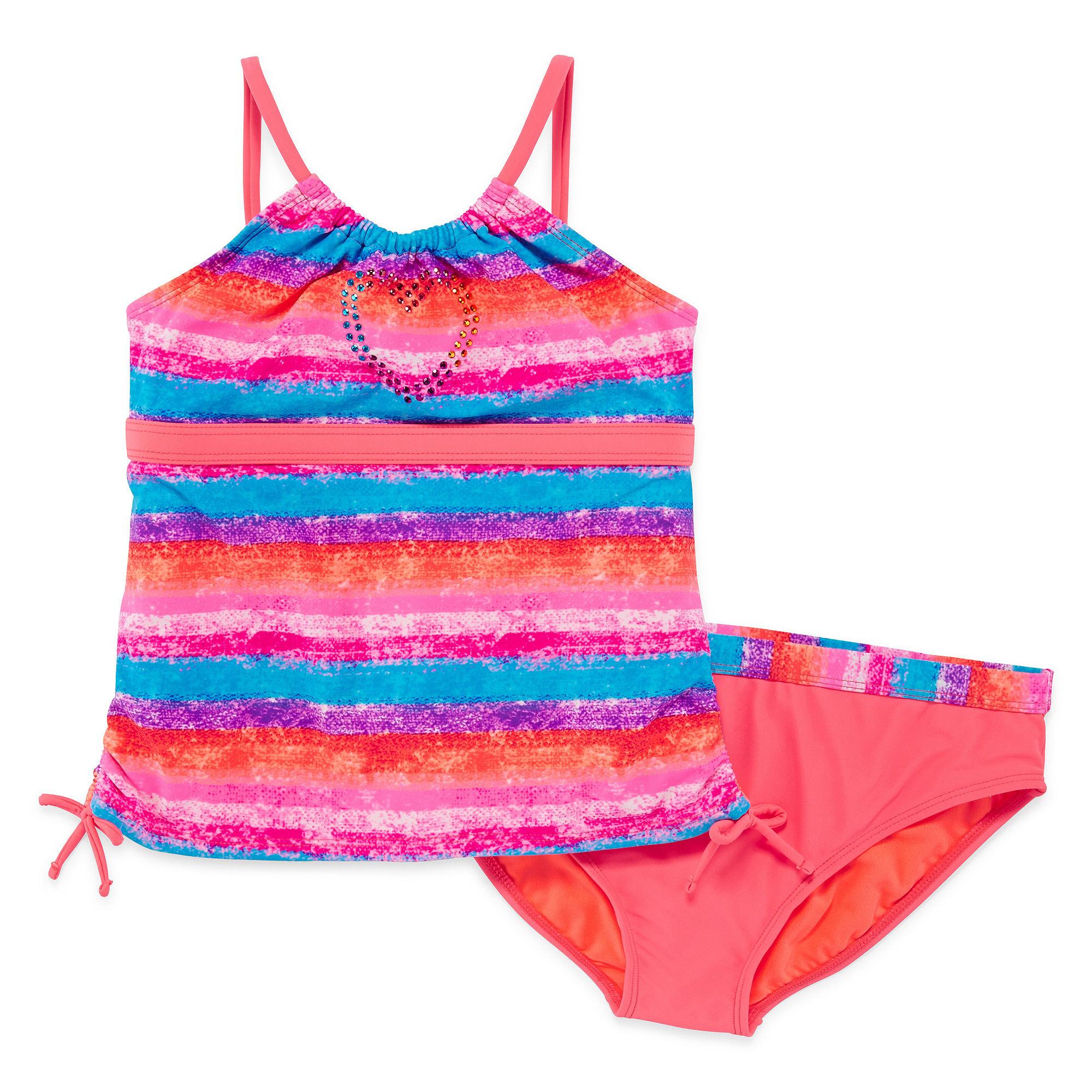 Angel Beach 2-pc. Sunset Striped Tankini Swimsuit - Girls Plus