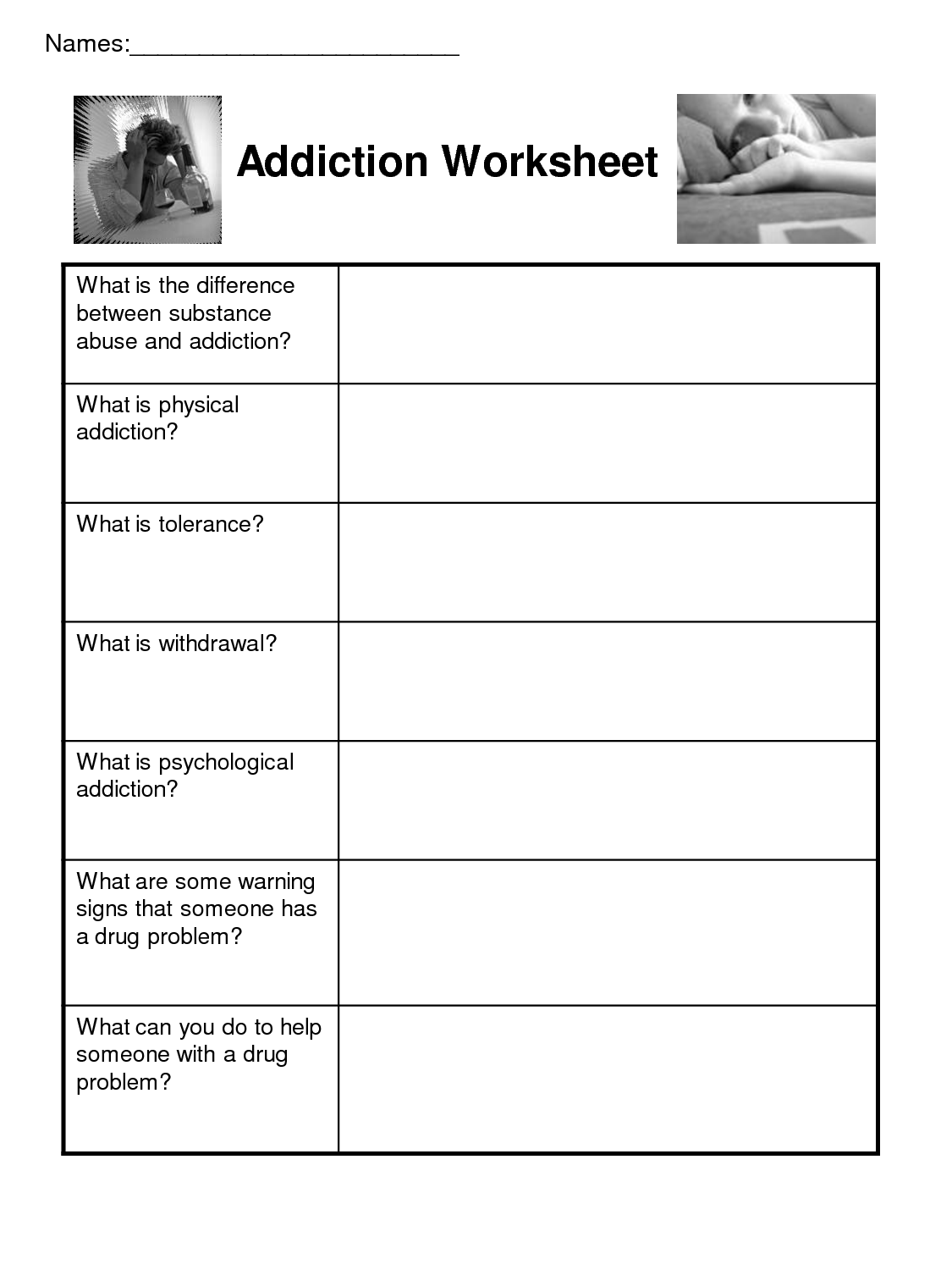 19 Best Images of Free Substance Abuse Worksheets For ...