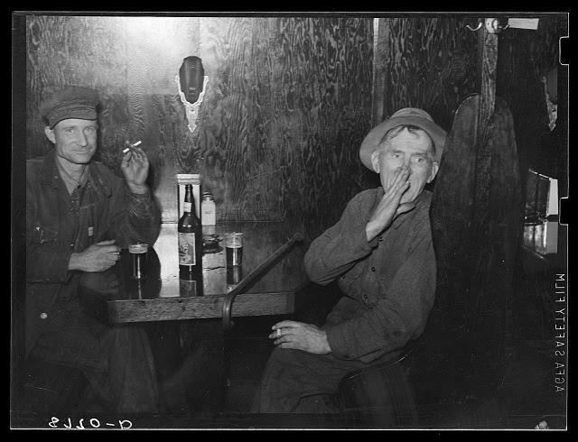 Farmer and old cowboy in North Platte, Nebraska, saloon