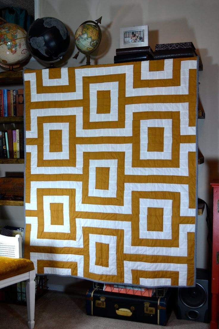 Mustard And White Modern Quilt