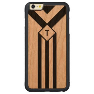 Black Stripes and Chevrons with Monogram on White Carved® Cherry iPhone 6 Plus Bumper