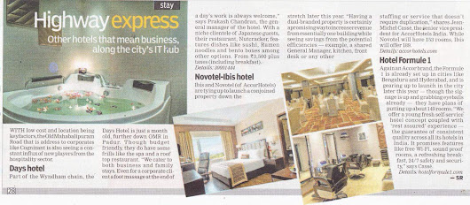 Days Hotel Chennai Omr write up in Indian Express