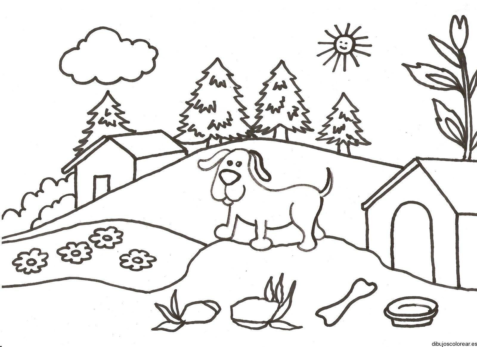 Dibujo De Un Perro En Una Loma