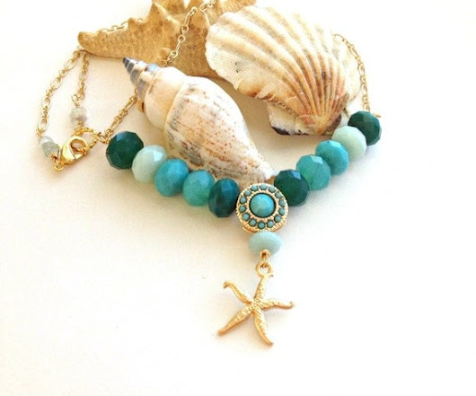 Caribbean Beaches Ombre Chalcedony, Aquamarine and Gold  necklace