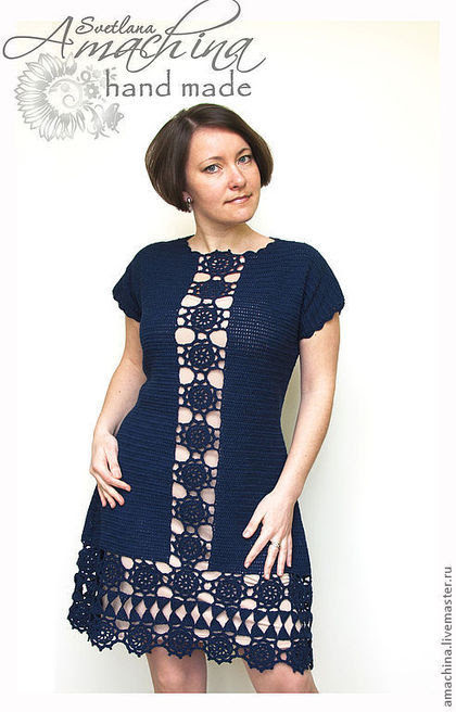 "Handmade dresses.  Fair of Masters - handmade.  Buy ""Elegant symmetry"".  Handmade.  Dark Blue, Crochet, Symmetry"