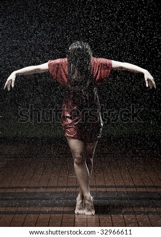 Happy Girl In The Rain With Quotes