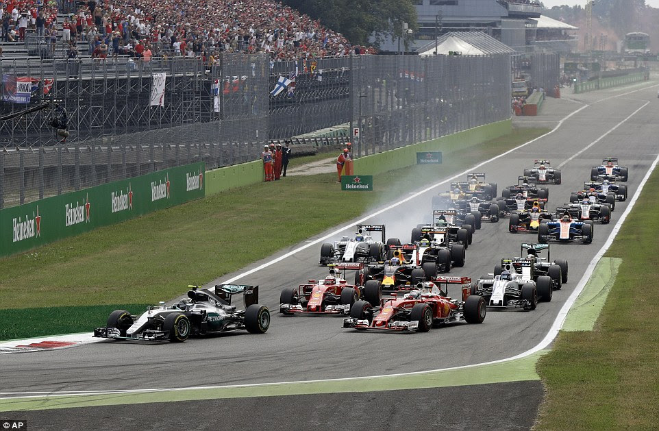A general view of the start of Sunday's Italian Grand Prix as Hamilton is overtaken by five Formula One rivals at Monza