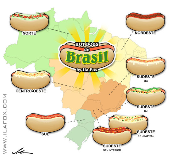 Infografico de tipos de hot dogs nas regiões do Brasil by ila fox