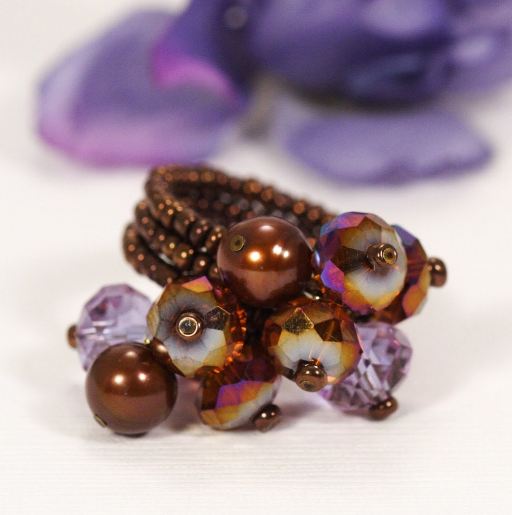 Bronze and Purple Floral Posy Beaded Ring