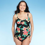 Maternity Floral Print D/DD Cup Tropical Tie Front Tankini Top - Isabel