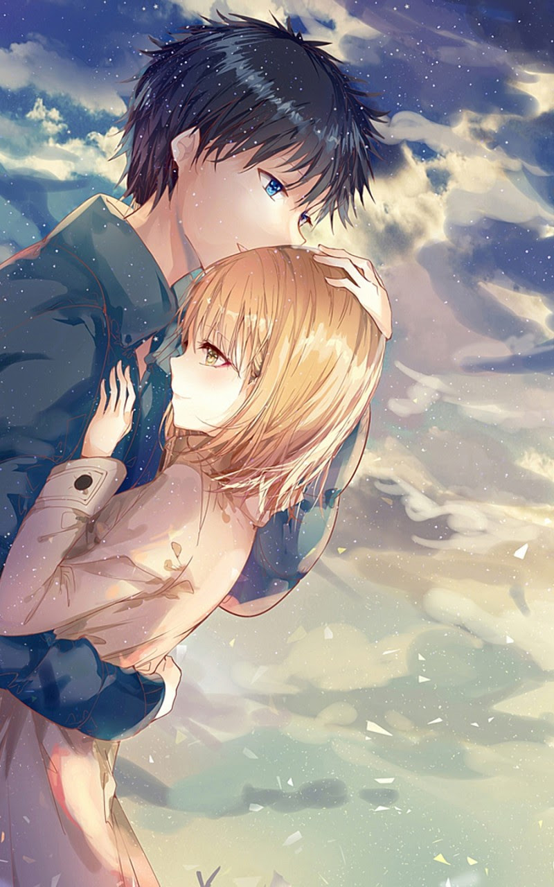 Download X Anime Couple Hug Romance Clouds Scenic