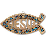 Wooden Christianity Jesus Ichthys Fish Wall Decor with Simulated Gemstones - Made in Israel