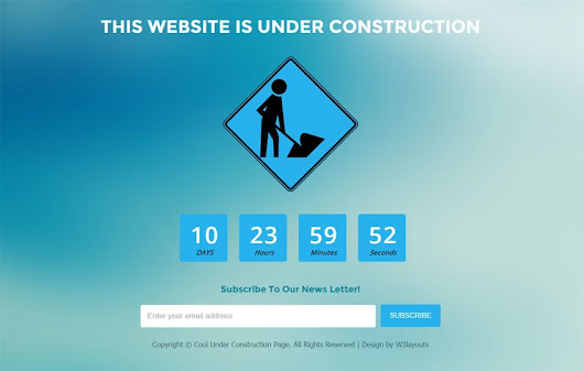 Cool Under Construction Page Flat Responsive Web Template by w3layouts by w3layouts