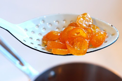 Removing the candied kumquats from the syrup by Eve Fox, Garden of Eating blog, copyright 2013