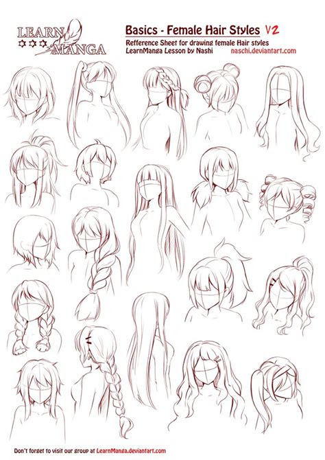 learn manga basics female hair styles   naschi