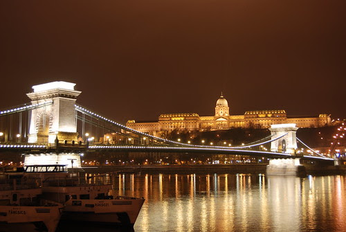 The Szechenyi Chain Bridge and Royal Palace (Buda Castle), Budapest, Hungary