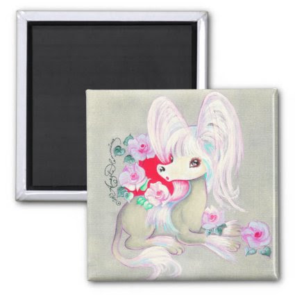 Chinese Crested Cute Puppy Dog Refrigerator Magnet