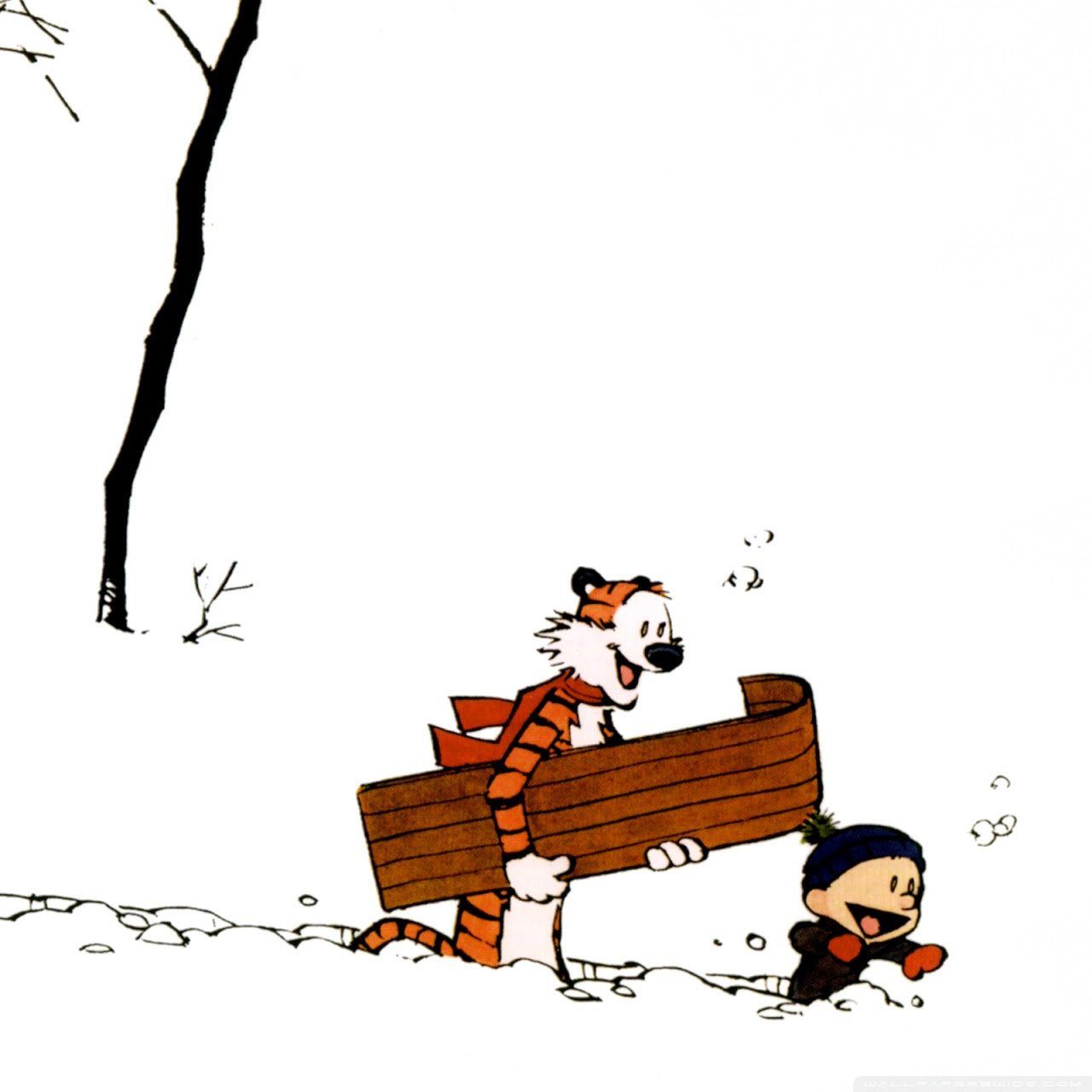 Calvin And Hobbes Winter Ultra Hd Desktop Background Wallpaper
