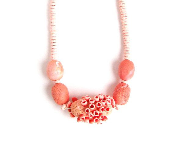 "long chunky statement necklace salmon and soft pink polymer clay chunky bead necklace ""Salmon"" sea anemone necklace. $54.50, via Etsy."