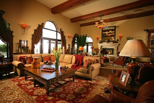 European Villa Family Room mediterranean family room