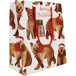 Waste Not Paper - Beary Christmas Holiday Medium Gift Bag - 3 Bags