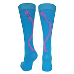 (Small, Electric Blue/Neon Pink) - MadSportsStuff Softball Socks with Stitches Over The Calf (Multiple Colours)