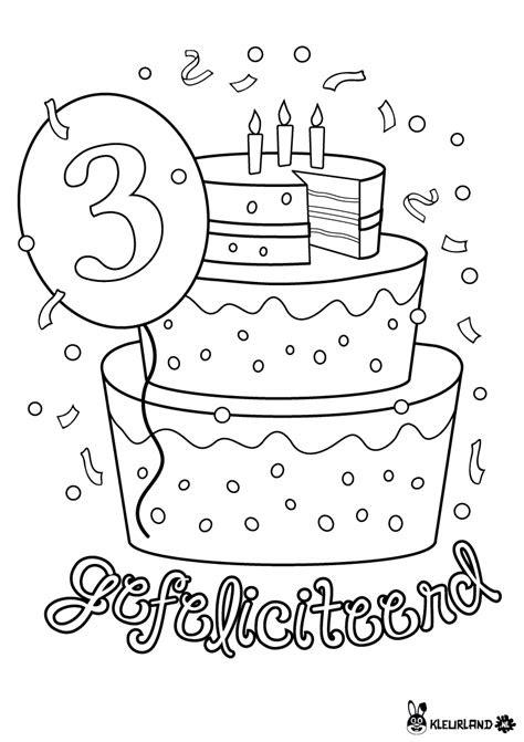 verjaardagstaart  jaar kleurlandnl kleurplaten