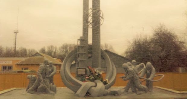 "A memorial in still-abandoned Pripyat to the ""suicide squad"" of firefighters who initially fought the Chernobyl disaster."