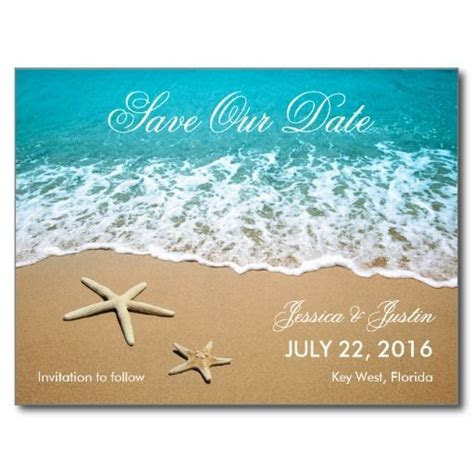 Beach With Starfish Save the Date Card   Zazzle.com