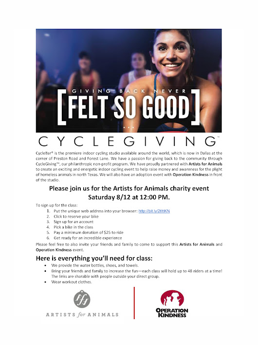 Cycle Giving with Artists for Animals and CycleBar : August 12th