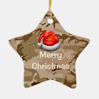 Desert Sand Camo Star Merry Christmas Ornament