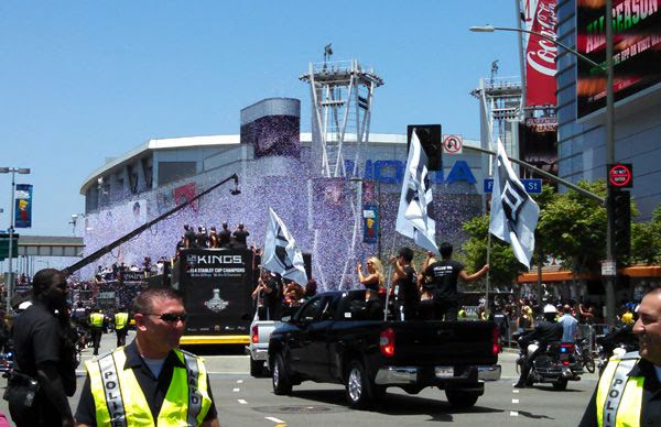 Confetti shoots up into the air...marking the end of the Los Angeles Kings' championship parade at STAPLES Center on June 16, 2014.