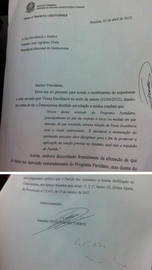Carta de desfiliação de Demóstenes Torres (Foto: Nathalia Passarinho / G1)