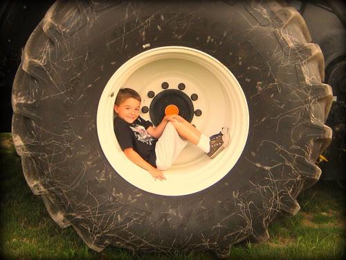 A boy in a tire 1