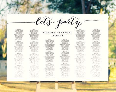 Let's Party Seating Charts · Wedding Templates and Printables